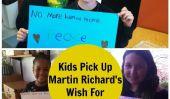 Enfants Offre Tribute To Martin Richard: No More blesser les gens.  Paix