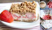 Frozen Strawberry Crunch Recette de gâteau (sans cuisson)