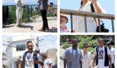 Enfin!  Kim Kardashian porte la robe parfaite Bump bébé blanc, en vacances avec Kanye West et ... Will Smith?  (Photos)