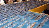 des navires de guerre de modèle fabriqué à partir des boîtes d'allumettes