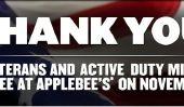 Journée des anciens combattants de Applebee 2010: repas gratuits!