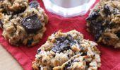 Sans gluten, sans sucre, beurre d'arachide et banane Cookies aux morceaux de chocolat sans oeufs