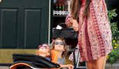 Marche pour trois!  Enceinte Camila McConaughey prend ses enfants pour une promenade (Photos)
