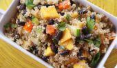 Salade de quinoa au curry avec des haricots noirs et Mango