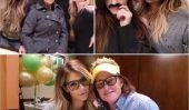 Voir Kim Kardashian avec une moustache, des lunettes et Robe en dentelle blanc Sheer!  (Photos)