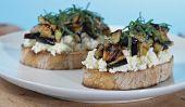 Bruschetta à la ricotta, aubergines grillées et menthe fraîche