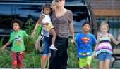 Whoa!  Heidi Klum Flâneries autour dans un Top transparent avec ses enfants (Photos)