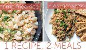 Une recette, deux repas: riz frit aux crevettes - Plus, une version végétalienne!