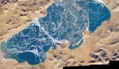 Patterns complexes Ice Crack sur le lac Puma Yumco
