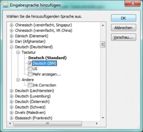 Commutateur Clavier en allemand - que vous changez le paramètre de langue sur votre PC