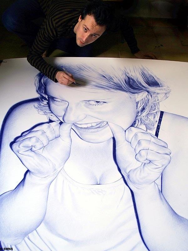 Photoréalistes stylo à bille dessins de Juan Francisco Casas