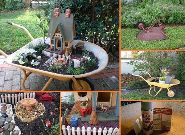 Brouette bricolage jardin miniature for Brouette jardin
