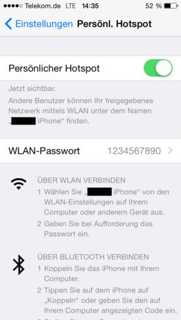 Réglage Hotspot personnel sur l'iPhone