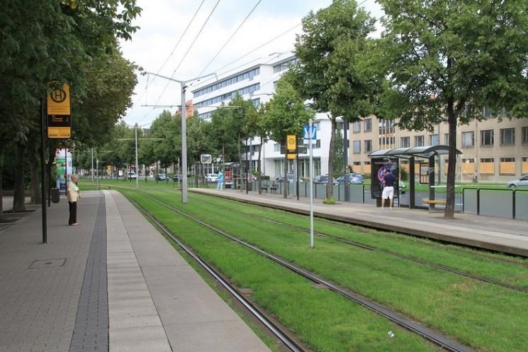 voies de tram de l'herbe couverte en Europe