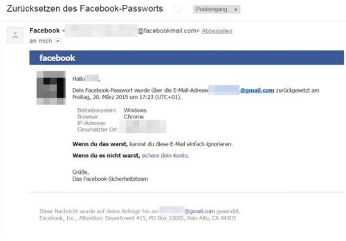 Facebook: Mot de passe renouvellement