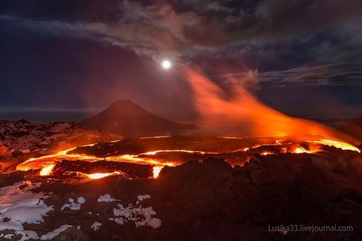 Photos imprenable sur Plosky Tolbachik éruption volcanique