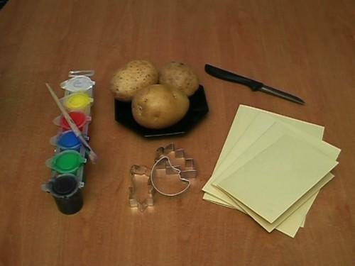Cartes de Noël yourself kit - Instructions pour les cartes avec l'impression de pommes de terre