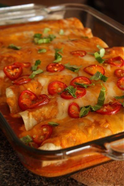 Cheesy Black Bean et Pepper Enchiladas