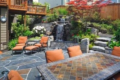 Embarrassé terrasses plaques correctement - pierre naturelle