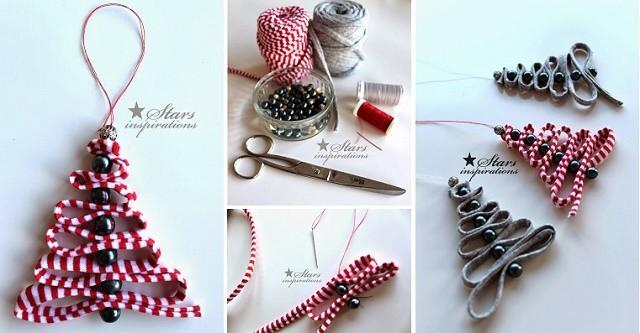 Diy facile ruban perle d corations pour sapins de no l for Decoration de noel exterieur avec ruban