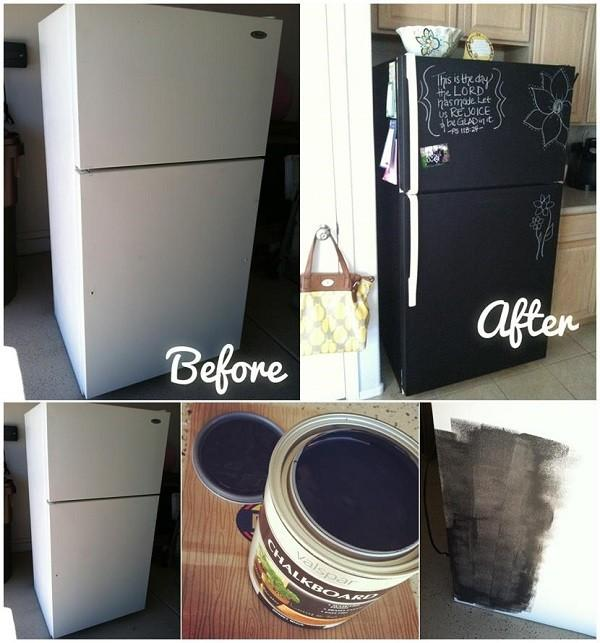 peinture tableau noir diy sur votre frigo. Black Bedroom Furniture Sets. Home Design Ideas