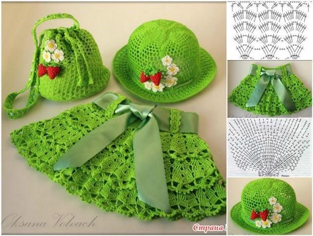 adorable crochet jupe chapeau et sac set pour les petites filles patron gratuit. Black Bedroom Furniture Sets. Home Design Ideas