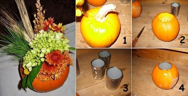 Arrangement bricolage facile citrouille Fleur